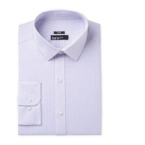 BAR III Windowpane Check Print Dress Shirt Purple